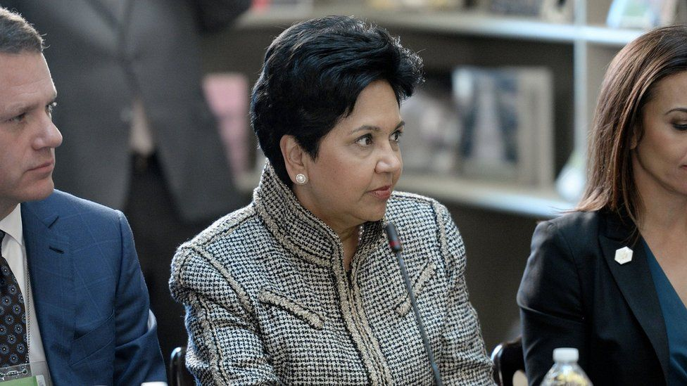 Indra Nooyi, CEO, Pepsi listens as US President Donald Trump speaks during a strategic and policy discussion with CEOs in the State Department Library in the Eisenhower Executive Office Building (EEOB) on April 11, 2017 in Washington, DC.