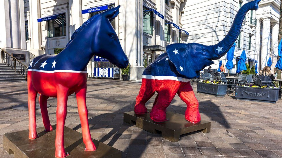 Democratic Mule and Republican Elephant statues symbolize American 2-part political system