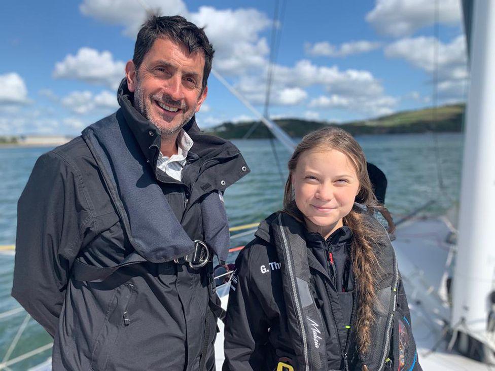 Justin Rowlatt and Greta Thunberg on board the Malizia