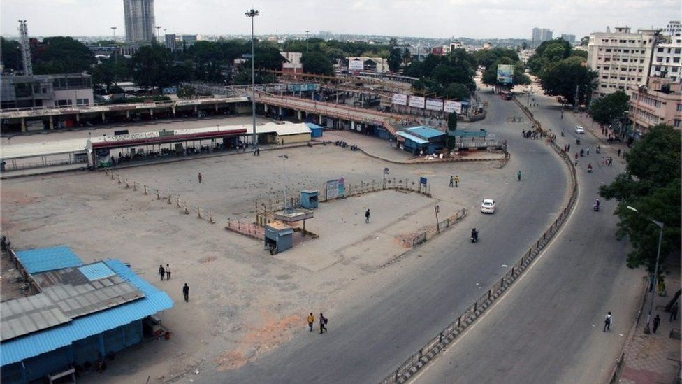 A general view of the deserted city bus stand following the Karnataka bandh in Bangalore, India, 09 September 2016.