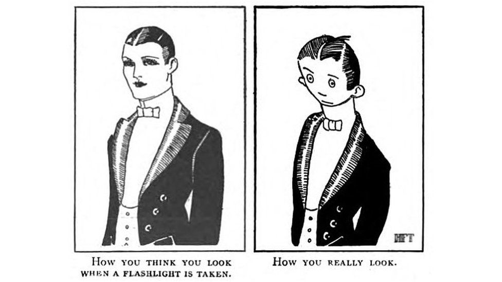 """On the left of the cartoon, a well-dressed attractive gentleman is captioned with """"How you think you look when a flashlight is taken"""". On the right, an unattractive gentleman is captioned with """"How you really look""""."""