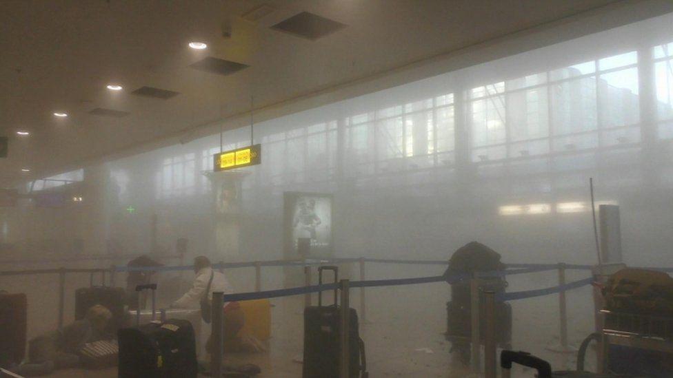 Scene inside airport, 22 March