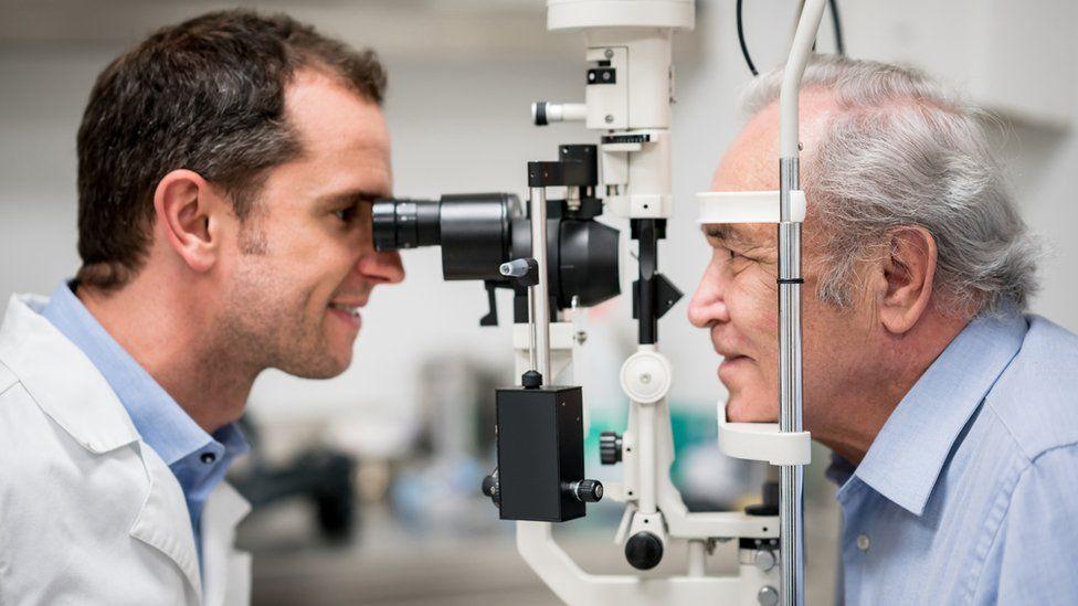 Older man getting an eye test