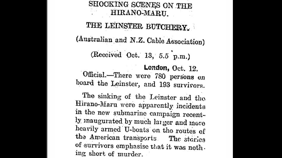 A contemporary newspaper report of the sinking