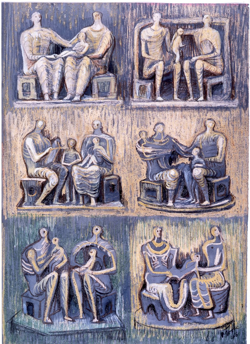 A series of sketches of family figures in a group