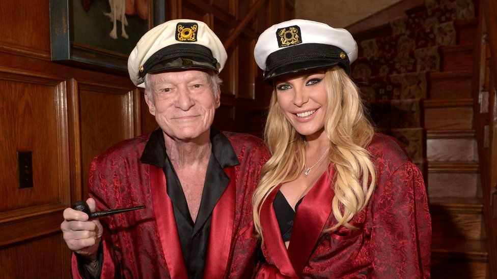 Playboy founder Hugh Hefner and third wife and former Playboy Playmate of the Month Crystal