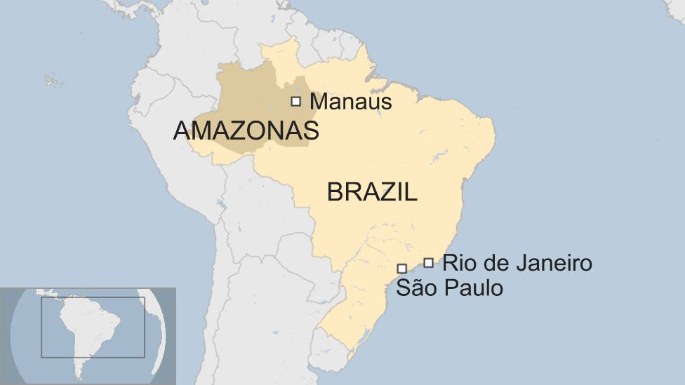 Map of Amazonas in Brazil