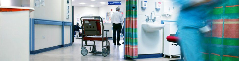 Empty wheelchair on the accident and emergency ward.