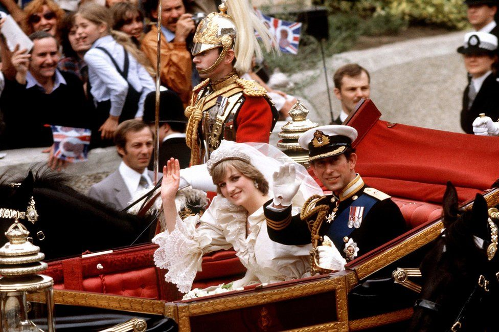 Prince of Wales and his bride, the Princess of Wales in an open-top carriage