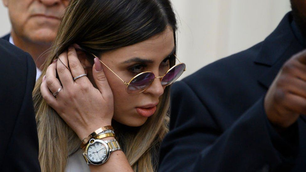 Emma Coronel Aispuro walks out of Brooklyn Federal Court on July 17, 2019 after her husband's sentencing