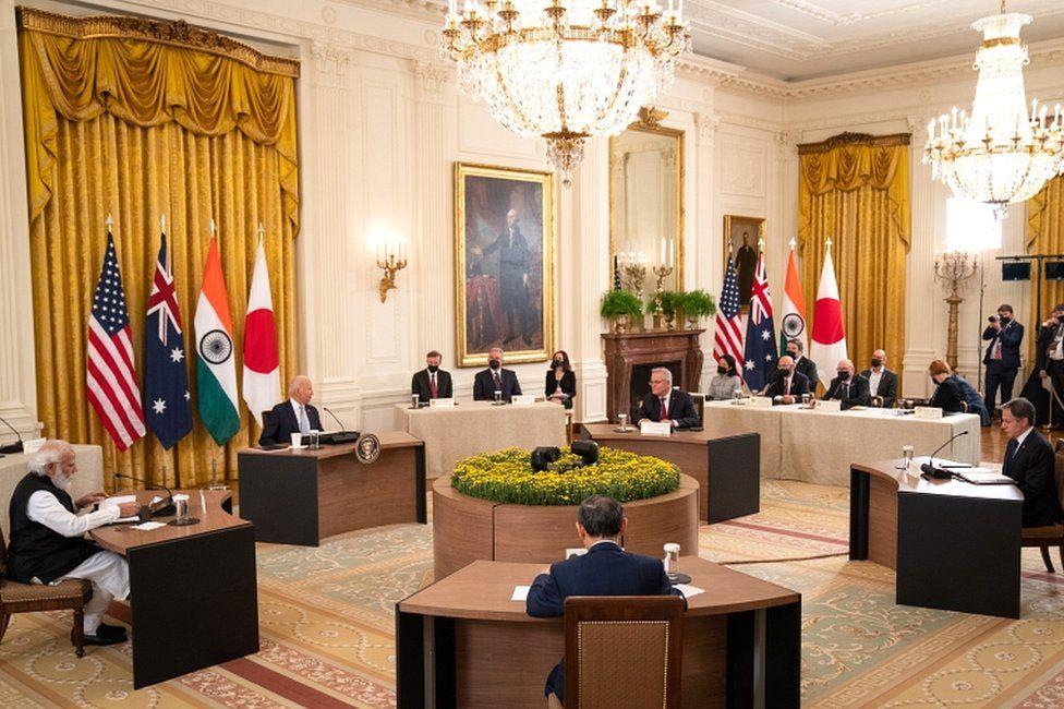 US President Joe Biden hosts a Quad leaders' summit with India Prime Minister Narendra Modi, left, Japan Prime Minister Suga Yoshihide, Australian Prime Minister Scott Morrison and Secretary of State Antony J Blinken in the East Room at the White House in Washington, DC, USA on 24 September 2021