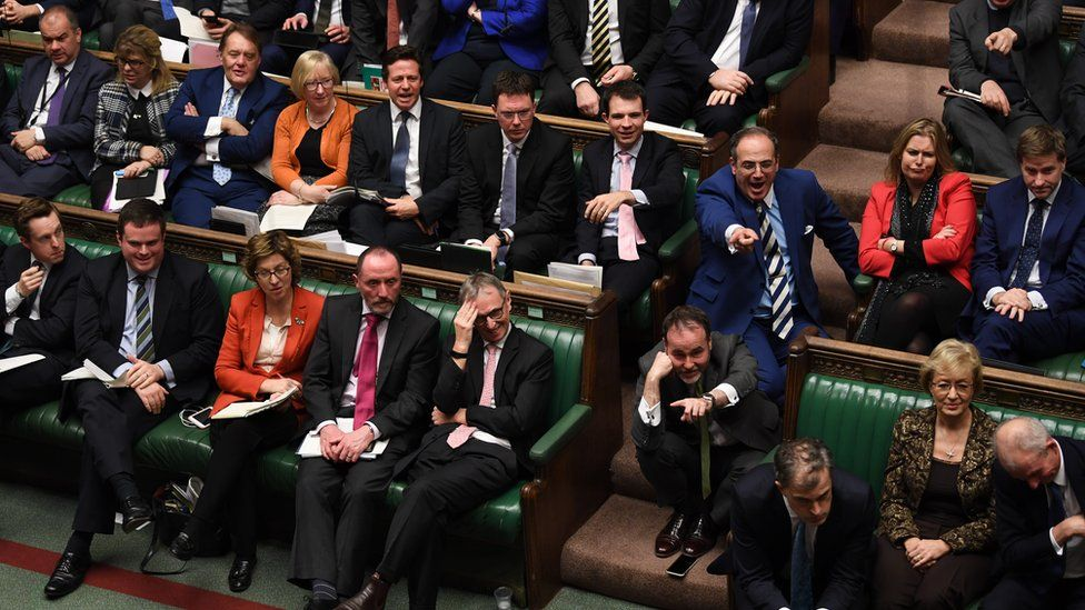 MPs pointing at each other in the House of Commons