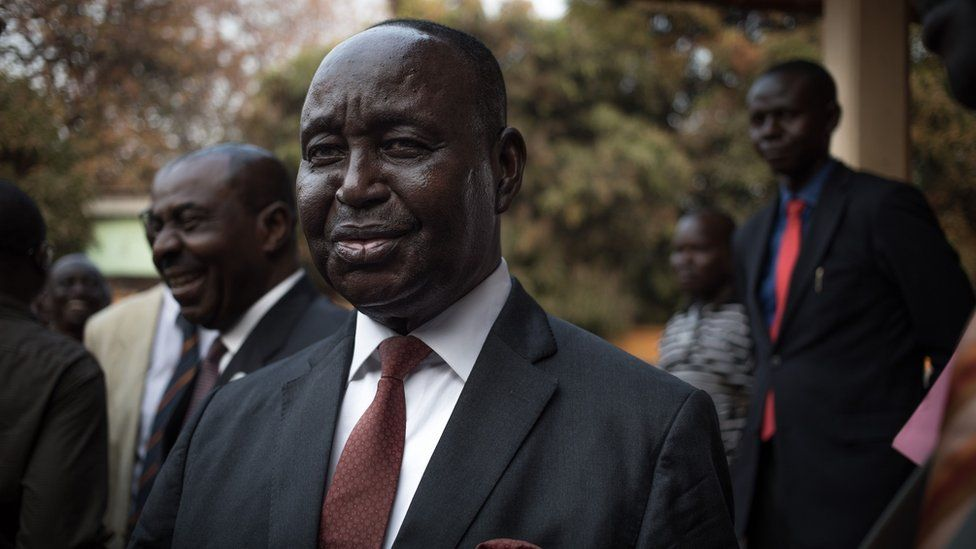 Former Central African Republic President Francois Bozize arrives prior his first press conference since his return at the Kwa Na Kwa headquarters in Bangui, Central African Republic (CAR), on January, 27, 2020