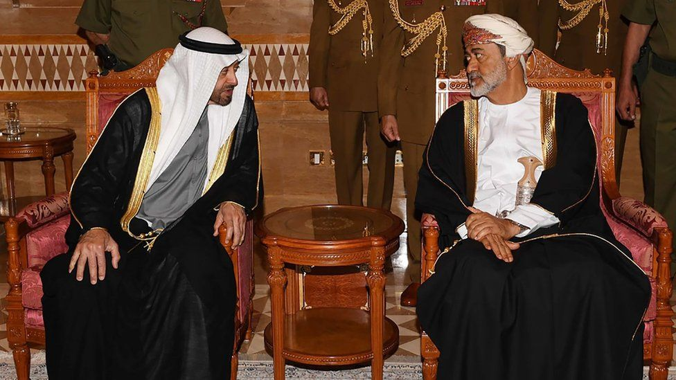 Abu Dhabi's Crown Prince Sheikh Mohammed bin Zayed (L) is received by Oman's Sultan Haitham in Muscat on 12 January 2020