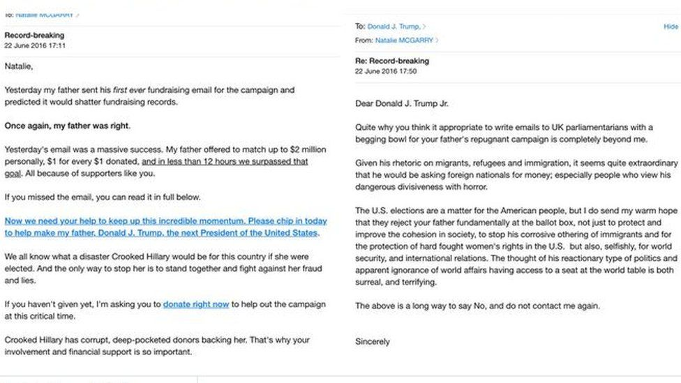 A fundraising email from Donald Trump and MP Natalie McGarry's response