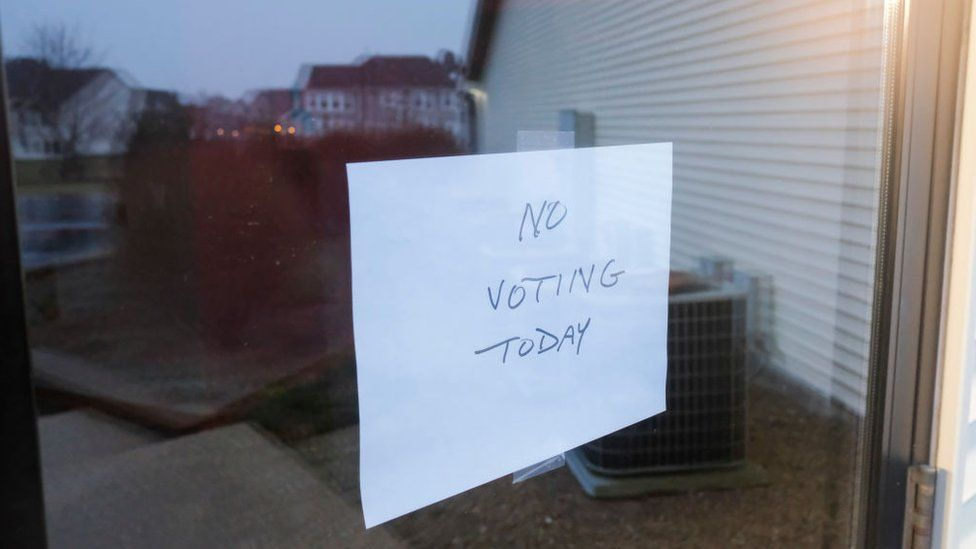 No voting sign for Ohio's presidential primary