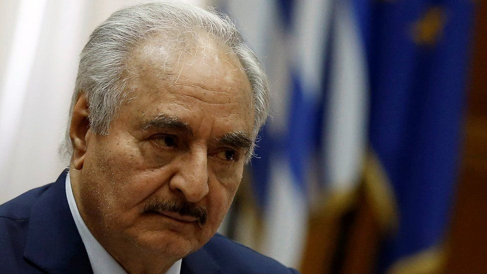 Libyan commander Khalifa Haftar meets Greek Prime Minister Kyriakos Mitsotakis (not pictured) at the Parliament in Athens, Greece, 17 January 2020