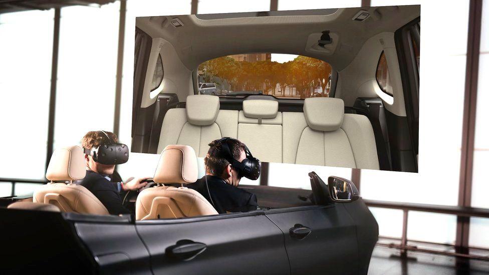 Men wearing VR masks in car mock up