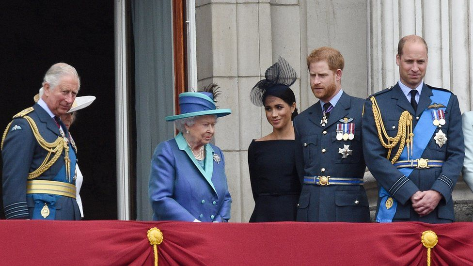 (L-R): The Prince of Wales, the Queen, the Duchess of Sussex, the Duke of Sussex, and the Duke of Cambridge