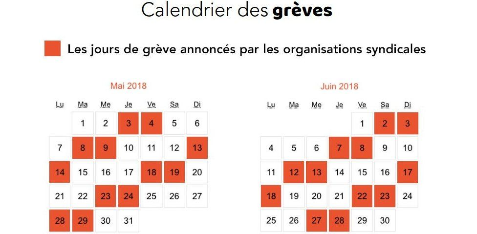 Rail strike page from SNCF