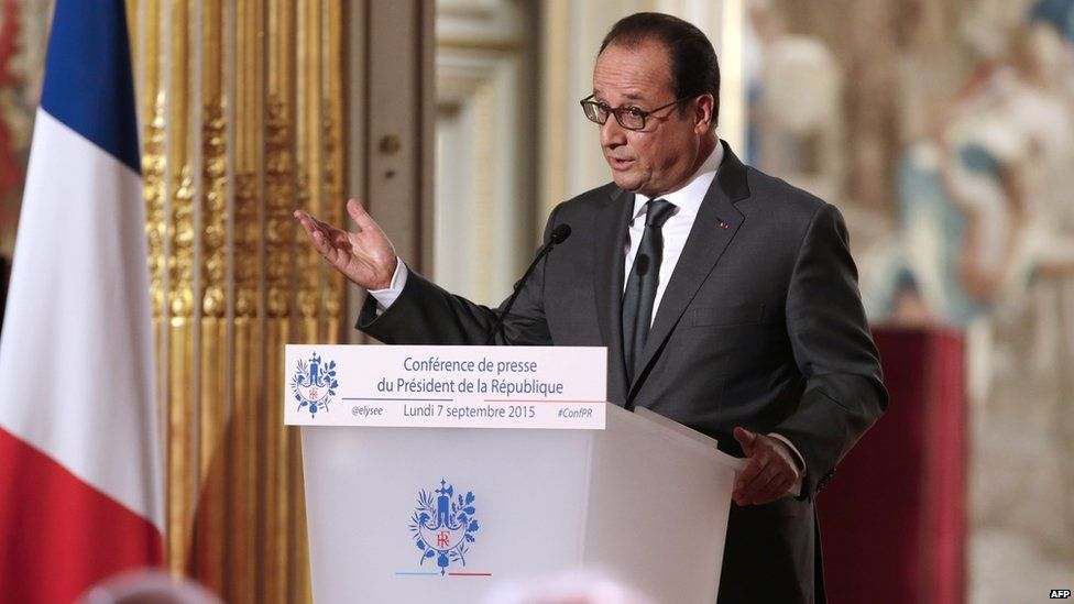 French President Francois Hollande delivers a speech during his bi-annual press conference at the Elysee presidential palace in Paris