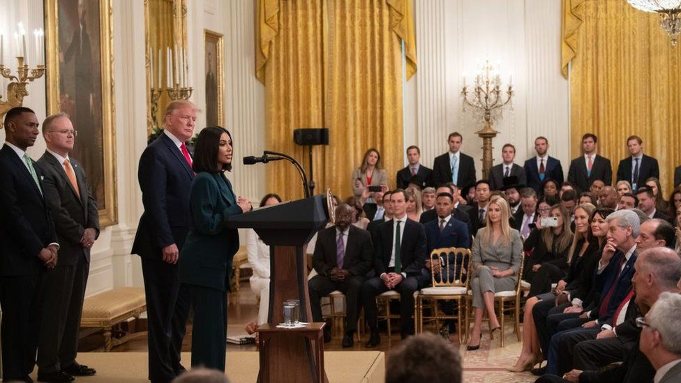 Kim Kardashian speaks alongside President Trump during a criminal justice reform event
