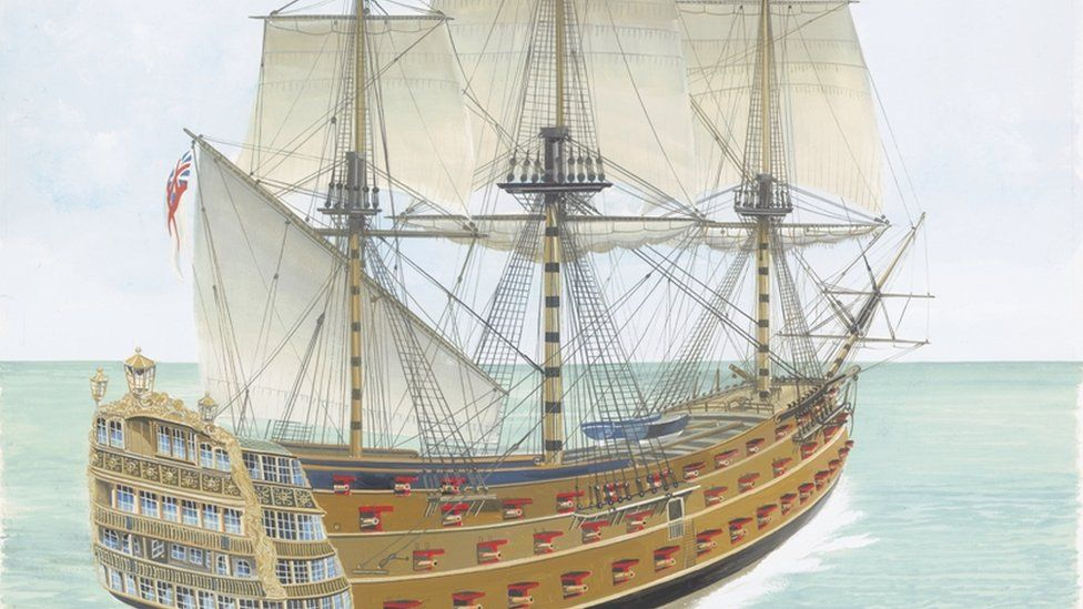 HMS Victory Ship: Artwork of HMS Victory, a first-rate Royal Navy warship wrecked in the English Channel, 1744. (Artwork by John Batchelor.)