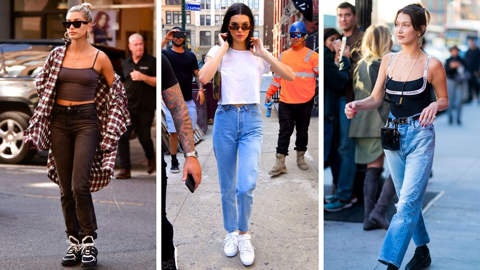 Models Hailey Baldwin, Kendall Jenner and Bella Hadid wearing the 'mom' jean