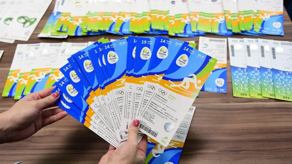 Olympic tickets seized by Brazilian detective as part of the alleged ticket touting scandal were displayed during a police press conference last month