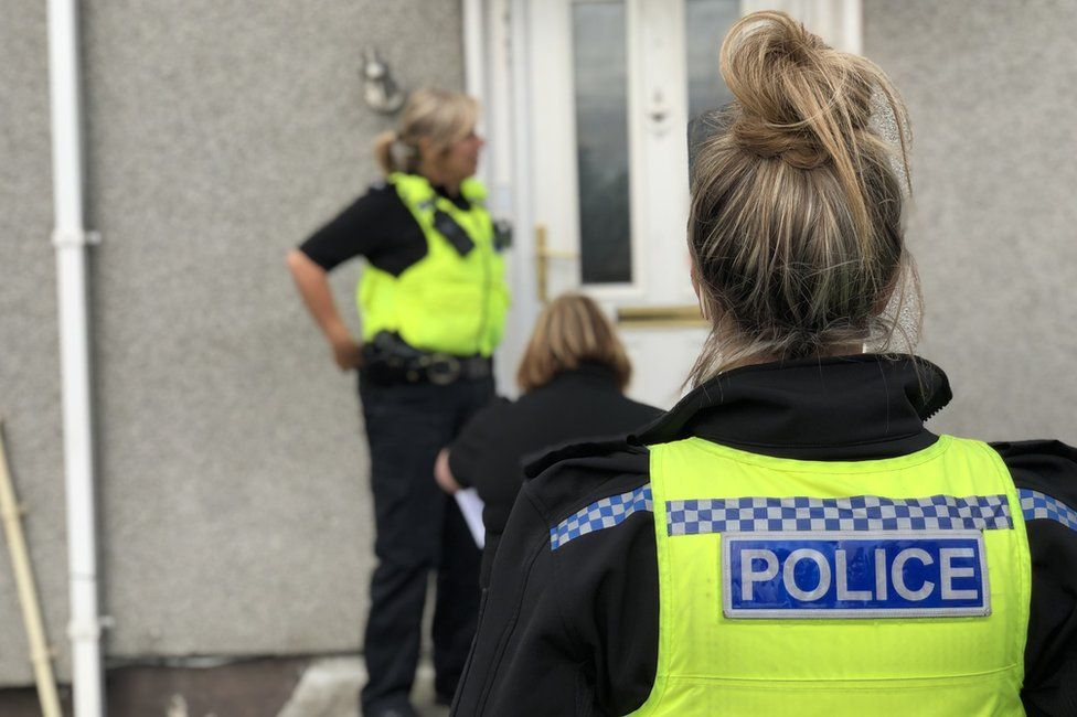 Police visit a Wallsend house to warn a family they will be evicted if they do not control their children