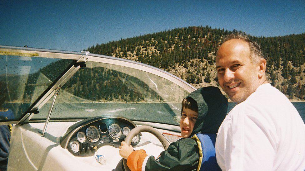 Celia's husband Jason and their son Christian in 2006