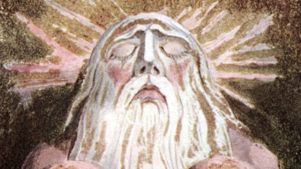A portrait of Urizen - the embodiment of restricted thought, reason and law - from William Blake's The Book of Urizen