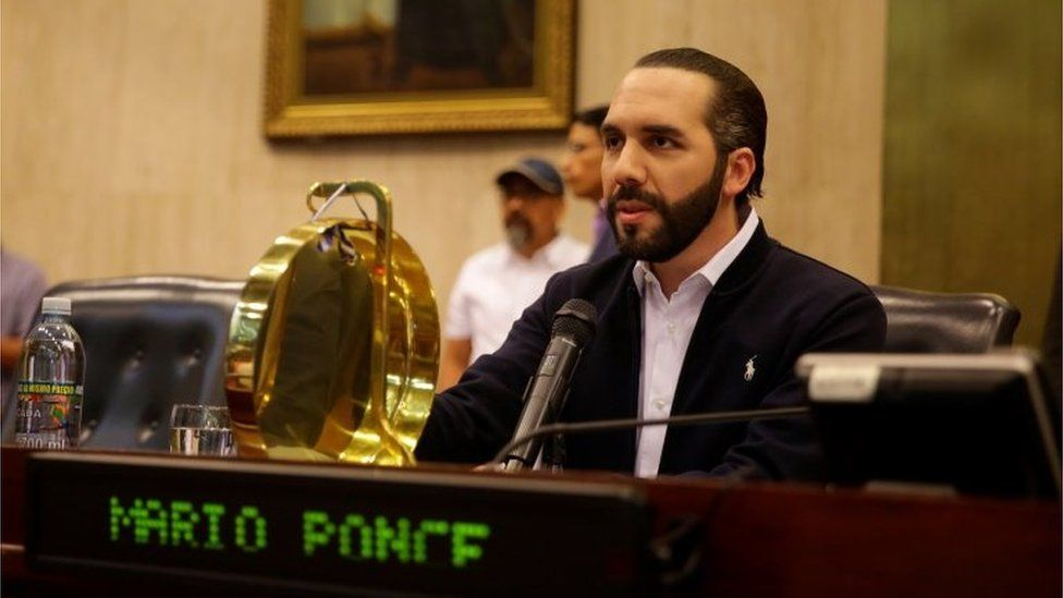 President Nayib Bukele during his intervention in the Congress, in San Salvador, El Salvador, 09 February 2020.