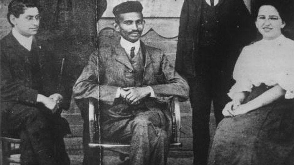 Mahatma Gandhi (Mohandas Karamchand Gandhi, 1869 - 1948) when he was practising as an attorney in South Africa.