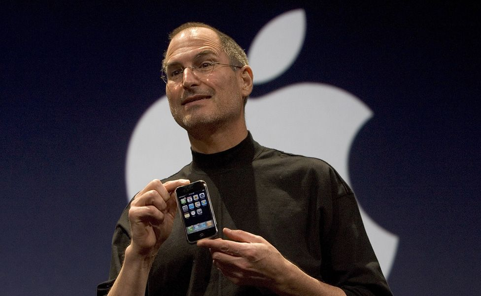 Steve Jobs unveiling the new iPhone at MacWorld Expo in June 2007