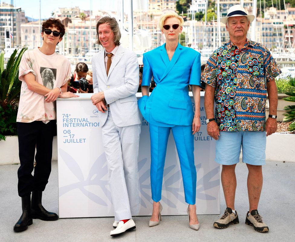 Photocall for The French Dispatch with director Wes Anderson and cast members Timothee Chalamet, Tilda Swinton and Bill Murray
