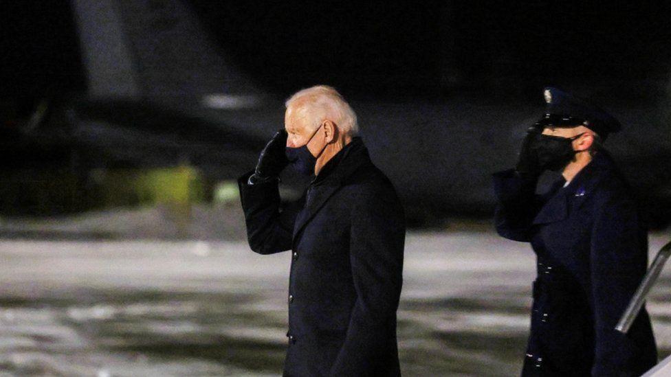 President Joe Biden arrives at Mitchell International Airport in Milwaukee, Wisconsin