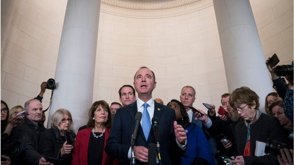 Adam Schiff, a Democrat from California and chairman of the House Intelligence Committee, answers questions from members of the media after a House Intelligence Committee