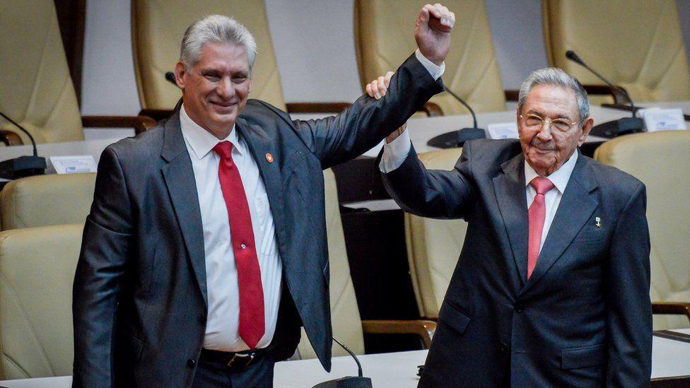 President Miguel Díaz-Canel (left) and Raúl Castro