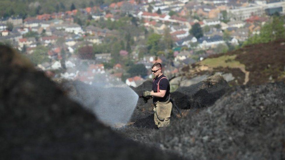 Firefighters remain on Ilkley Moor on Monday