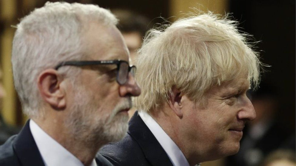 Jeremy Corbyn (l) and Boris Johnson