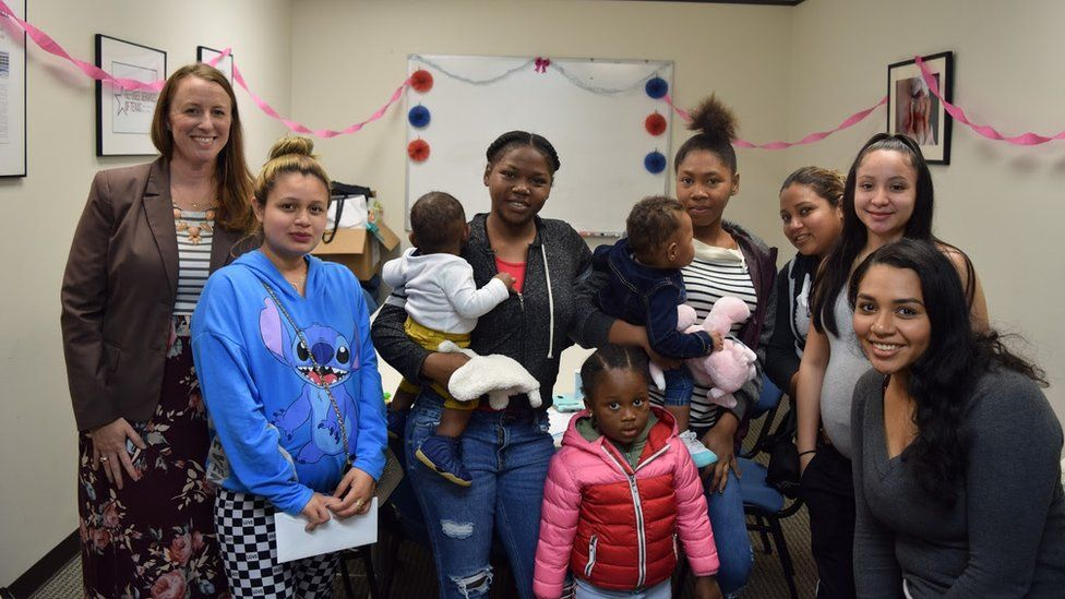 A baby shower for refugees in Houston organised by the Refugee Services of Texas