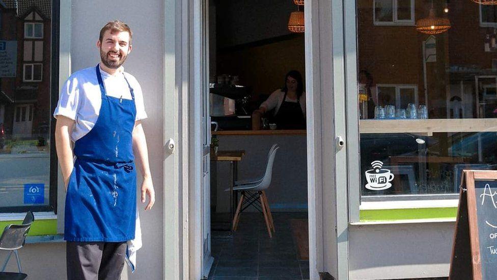 Aidan Jackson outside his cafe