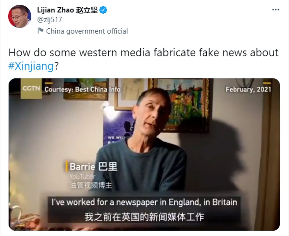 Foreign ministry officials have used Barrie Jones' YouTube video