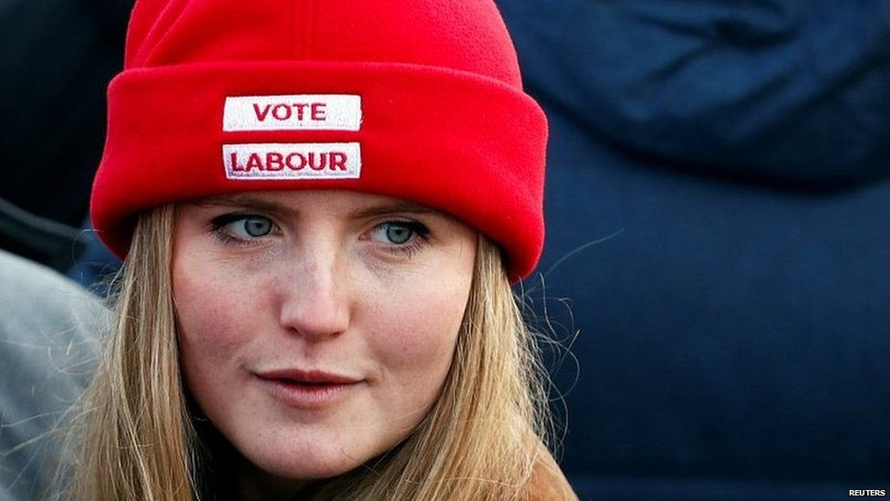 A Labour supporter at an election rally in Middlesbrough