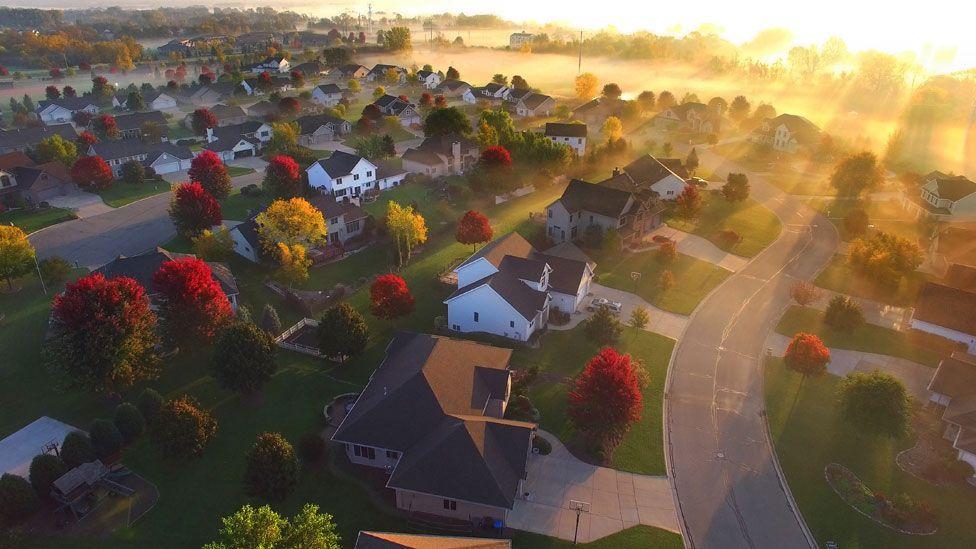 Sunrise over sleepy neighbourhood