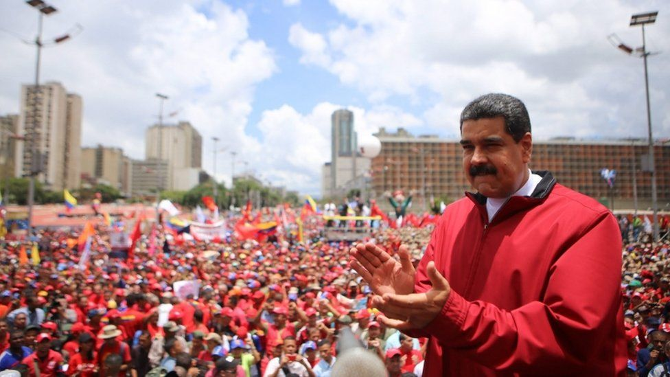 Maduro during rally in central Caracas