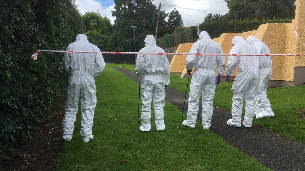 Forensic team at the scene in Strabane, County Tyrone