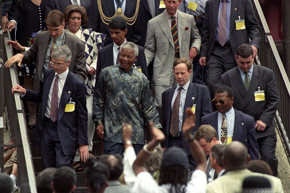 South African President Nelson Mandela in Brixton in 1996