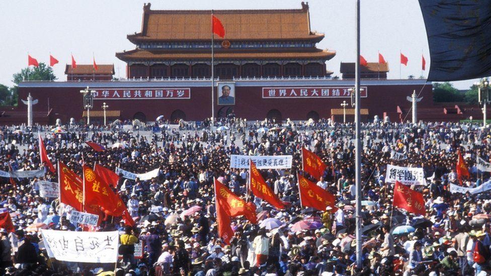 Plaza de Tiananmen en mayo de 1989.